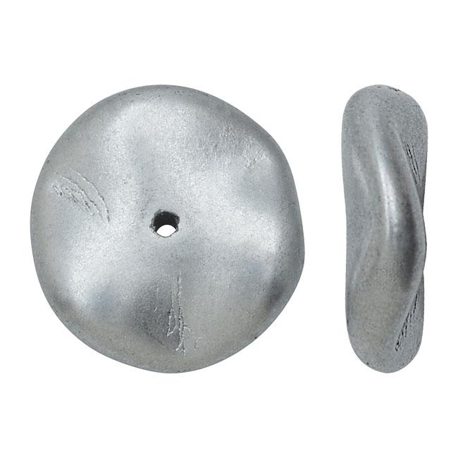 Czech Preciosa Glass Ripple Beads 12mm, 12 Pieces, Metallic Silver