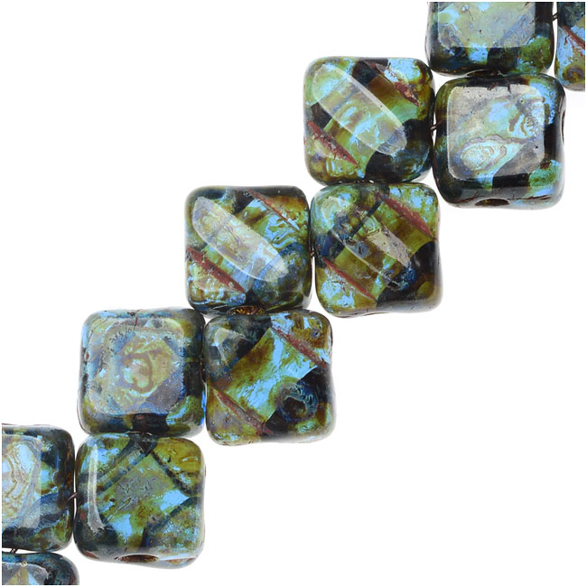 Czech Glass 2-Hole Silky Beads, 6mm Diamond Shape, 40 Pieces, Sapphire Picasso