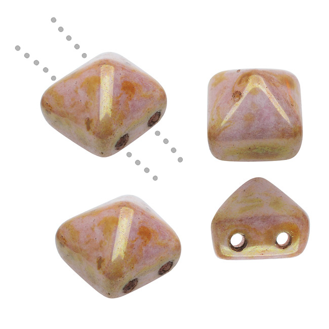 Czech Glass Beads, 2-Hole Pyramid Studs 8mm, 4 Pieces, Peach Pink Gold Luster