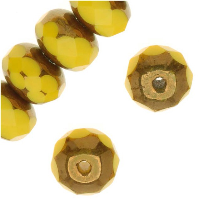 Czech Fire Polished Glass, Donut Rondelle Beads 6.5x4.5mm 'Copper/Opaque Yellow' (25)