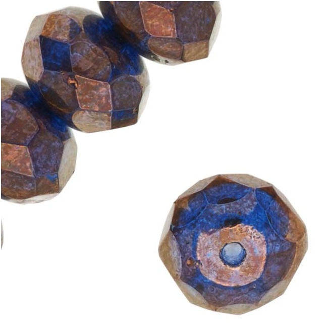 Czech Fire Polished Glass, Donut Rondelle Beads 8.5x5.5mm 'Bronze Illusion' (12)