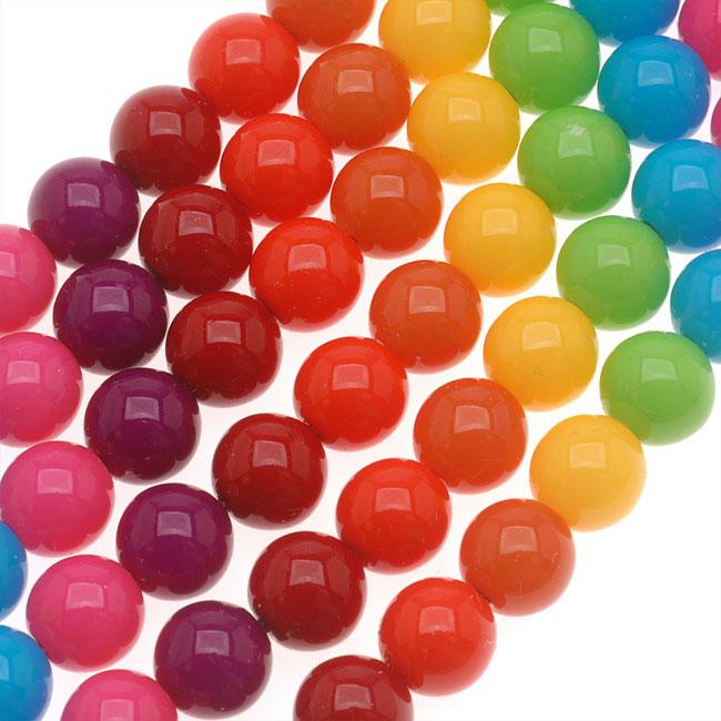 Czech Glass Round Party Beads 8mm - Neon Rainbow Mix (1 Strand / 22 Beads)