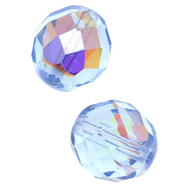 Czech Fire Polished Glass Beads 10mm Round Light Sapphire AB (12)