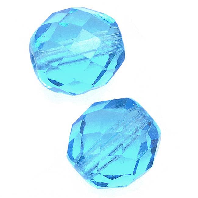 Czech Fire Polished Glass Beads 10mm Round Aquamarine (12)