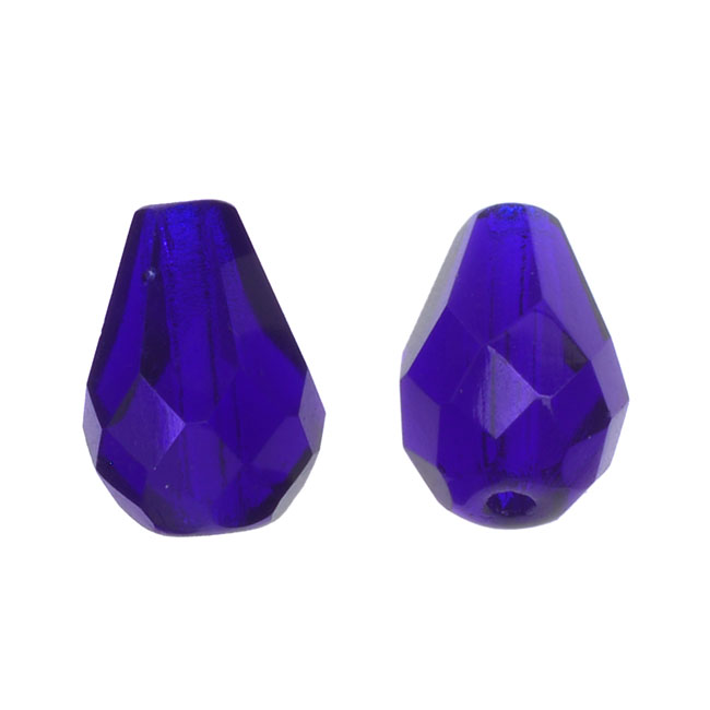 Czech Fire Polished Glass, Faceted Tear Drop Beads 10x7mm, 12 Pieces, Cobalt Blue