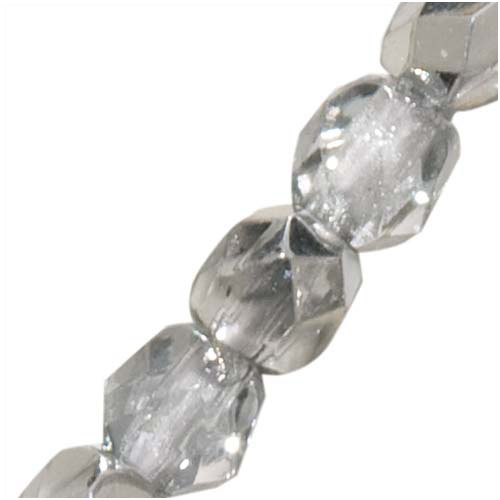 Czech Fire Polished Glass Beads 3mm Round Crystal Silver (50)