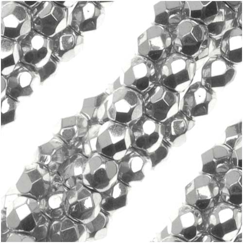 Czech Fire Polished Glass Beads 3mm Round Silver Metallic (50)