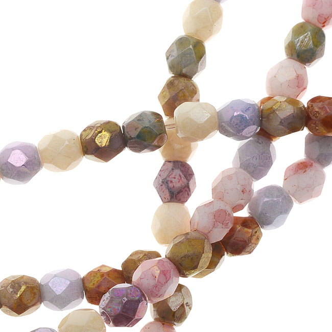 Czech Fire Polished Glass, 3mm Faceted Round Beads, 50 Piece Strand, Opaque Luster Mix