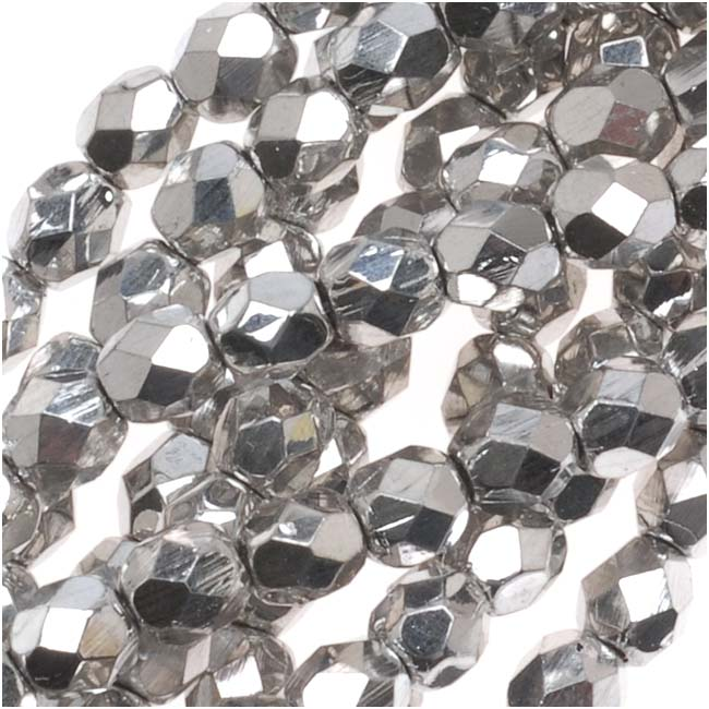 Czech Fire Polished Glass Beads 4mm Round Silver Metallic (50)