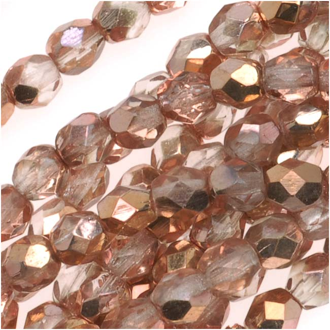 Czech Fire Polished Glass Beads 4mm Round Apollo (Gold) (50)