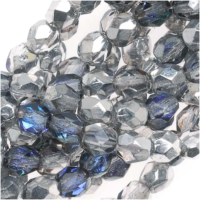Czech Fire Polished Glass Beads 4mm Round Silver/Blue/Crystal (50)