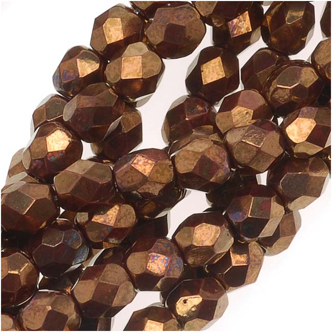 Czech Fire Polished Glass Beads 4mm Round Opaque Red Bronze Metallic (50)
