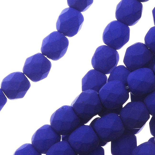 Czech Fire Polished Glass, 4mm Round Beads, 50 Piece Strand, Dark Neon Blue