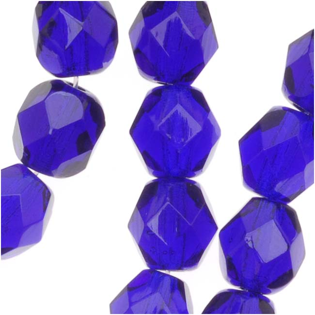 Czech Fire Polished Glass Beads 6mm Round Cobalt Blue (25)