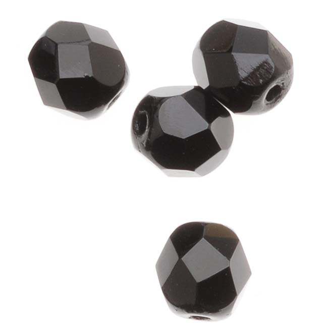 Czech Fire Polished Glass Beads 6mm Round Black Jet (25)
