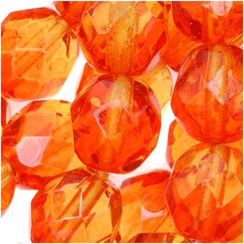 Czech Fire Polished Glass Two Toned Beads 8mm Round Orange Yellow (25)
