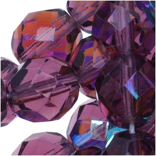 Czech Fire Polished Glass Beads 8mm Round Purple Amethyst AB (25)