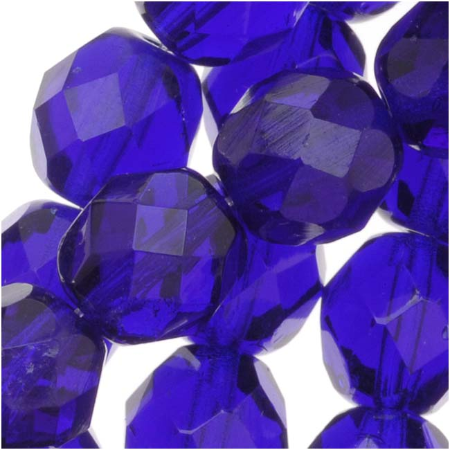 Czech Fire Polished Glass Beads 8mm Round Cobalt Blue (25)