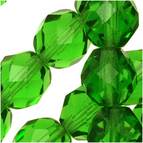Czech Fire Polished Glass Beads 8mm Round Green Light Emerald (25)