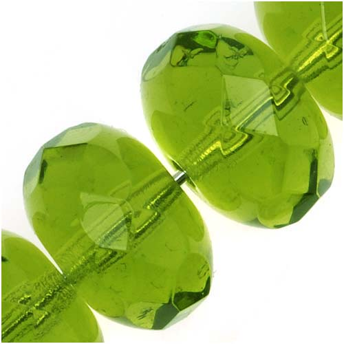 Czech Fire Polished Glass, Donut Rondelle Beads 11x7mm 'Olivine' Green (8)