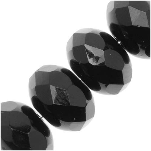 Czech Glass Beads 11x7mm Rondelle Spacers Jet Black (8)