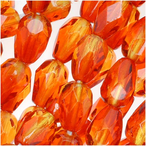 Czech Fire Polished Glass Beads 7 x 5mm Teardrop Orange Yellow (25)