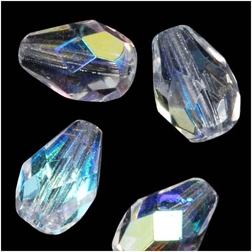 Czech Fire Polished Glass Beads 10 x 7mm Teardrop Crystal AB (12)