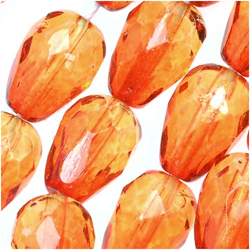 Czech Fire Polished Glass Two Toned Beads 10 x 7mm Teardrop Orange Yellow (12)