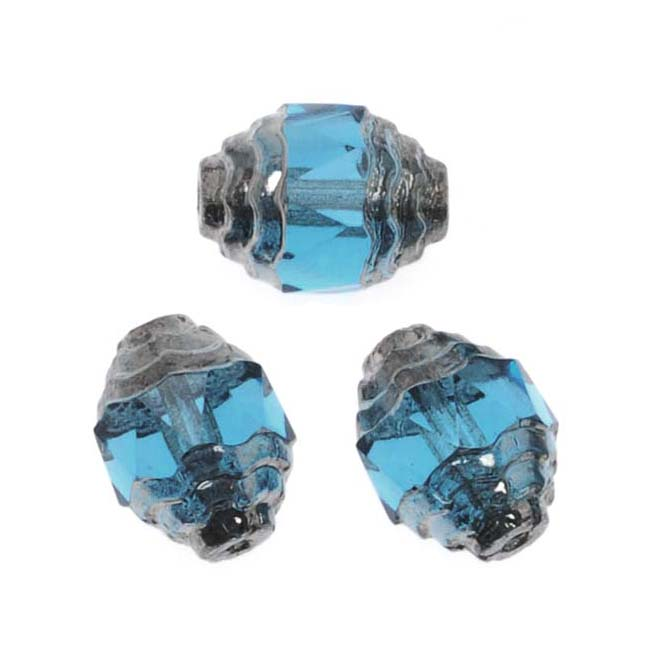 Jablonex Czech Cathedral Art Deco Bead 10mm Aquamarine/Silver/10
