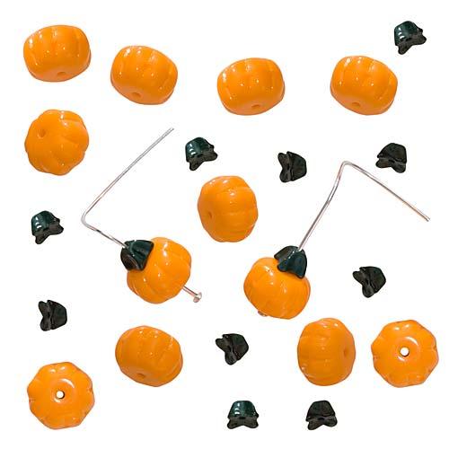 Czech Glass Bead Set Orange Pumpkins With Green Stems 11mm (12 Sets)