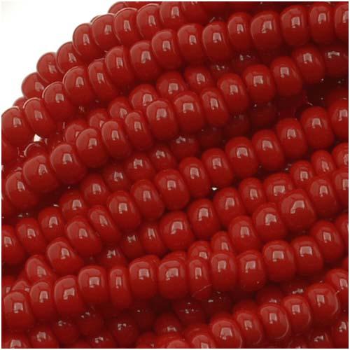 Czech Seed Beads Size 11/0 Dark Red Opaque (1 Hank)