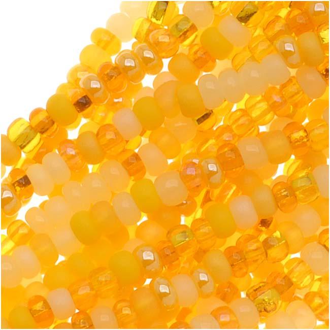 Czech Glass Seed Beads, 11/0 Round, 1 Hank, Daffodil Yellow Mix
