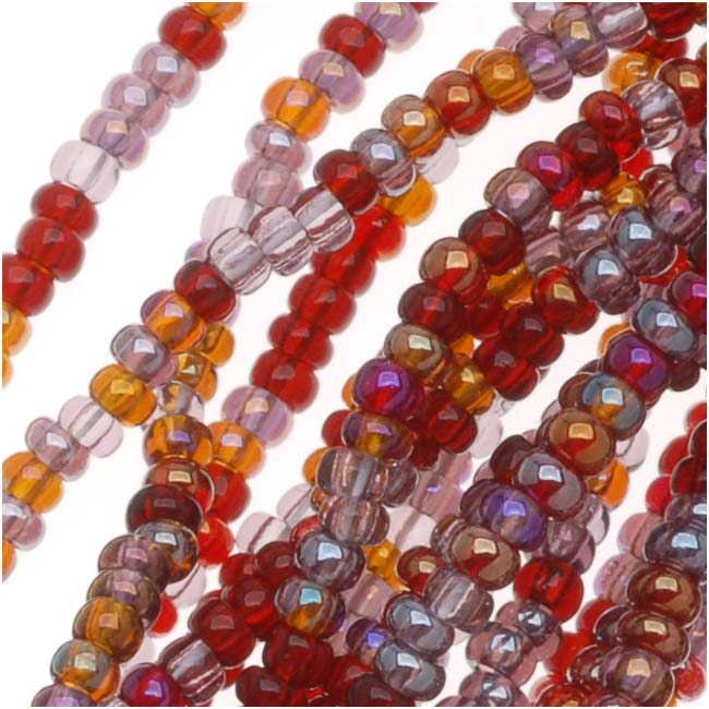Czech Seed Beads Mix Lot 11/0 Vineyard Purple/Mauve/Amber 1/2 Hank