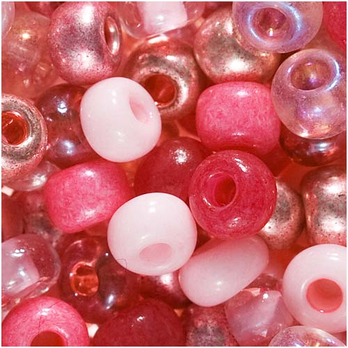 Czech Seed Beads 6/0 Mix Lot Pretty Princess Pink 1 Ounce
