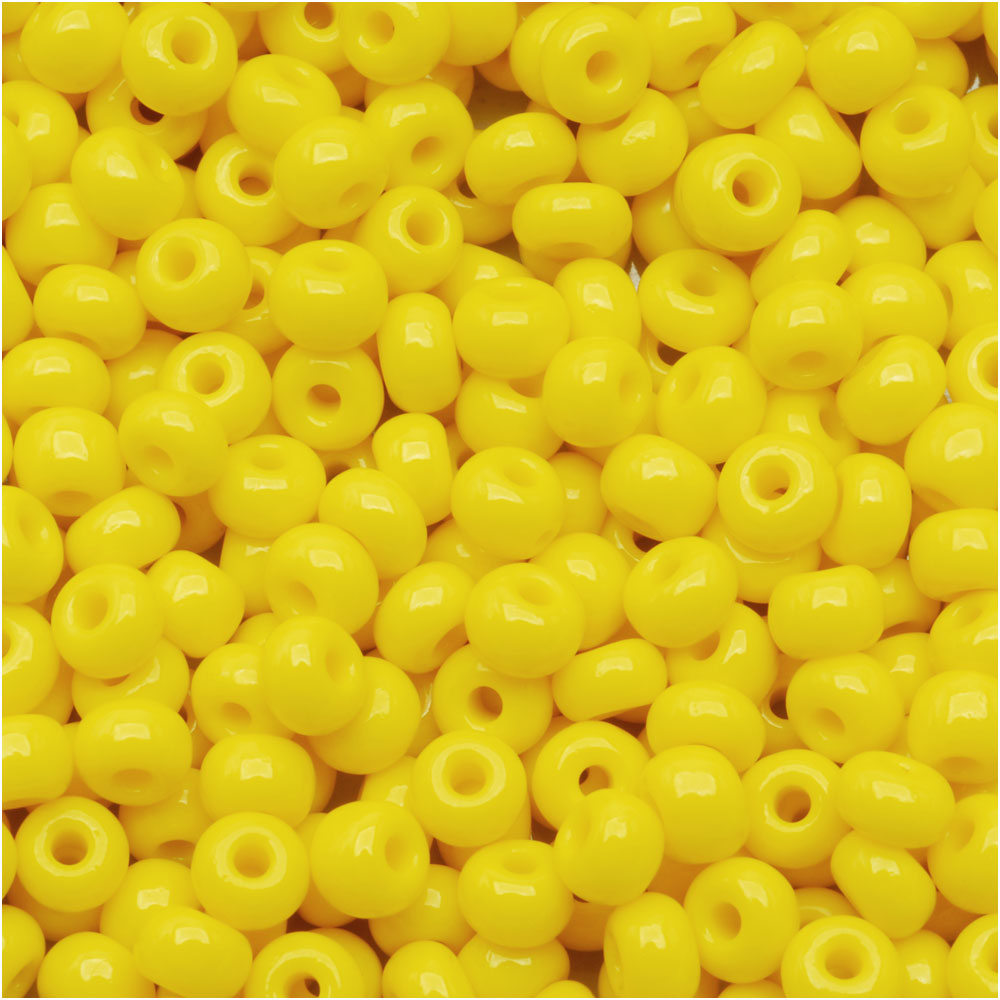 Czech Seed Beads 6/0 Sunshine Yellow Opaque (1 Ounce)