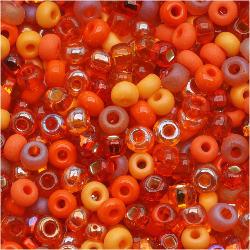 Czech Seed Beads 6/0 ''L.A. Sunset'' Orange Mix (1 Ounce)