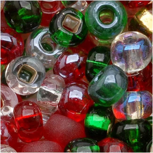 Czech Seed Beads 6/0 Mix Deck The Halls Christmas (1 Ounce)