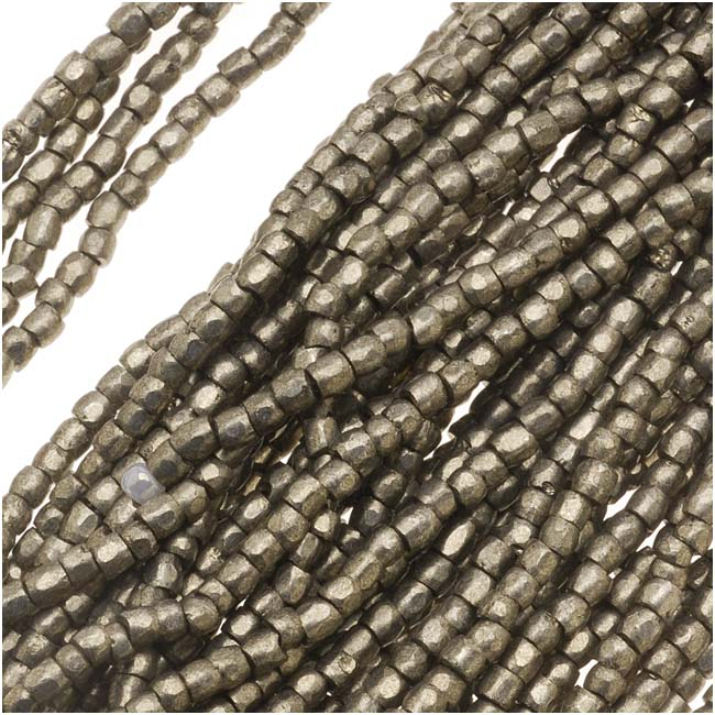 Czech Tri-Cut Seed Beads 10/0 'Terra Metallic Steel' (1 Strand/360 Beads)