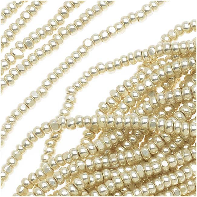 Czech Single Cut Charlotte Seed Beads 13/0 Metallic Silver Terra 1/2 Hank