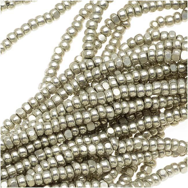 Czech Single Cut Charlotte Seed Beads 13/0 Metallic Grey Terra 1/2 Hank