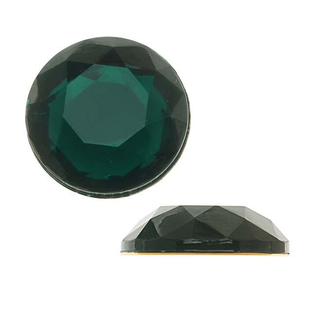 Final Sale - Vintage Lucite Plastic Flatbacks Faceted Round Emerald SS86 20mm (8)
