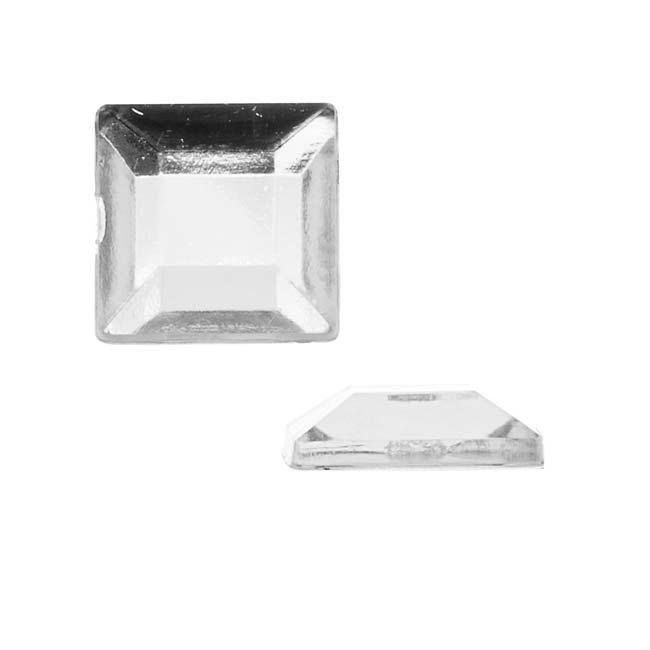 Final Sale - Vintage Lucite Plastic Flatbacks Faceted Square Crystal 12mm (12)