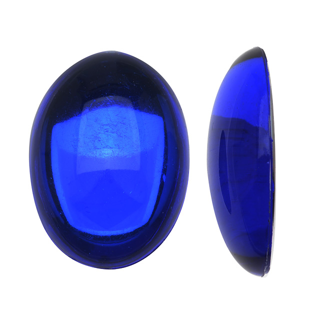 Final Sale - Vintage Lucite Plastic Oval Domed Cabochon - Sapphire / Foiled 18x25mm (6)
