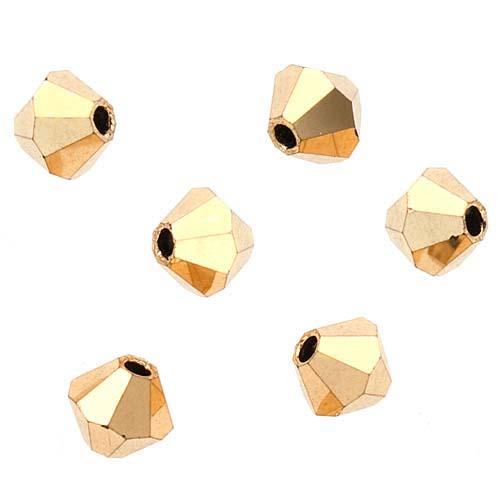 Preciosa Czech Crystal 4mm Bicone Beads 'Crystal Aurum' (50)