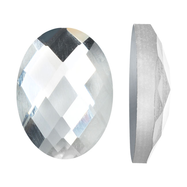 Mirror Flat Back Glass Cabochons, 13x18mm Faceted Ovals, 4 Pieces, Clear