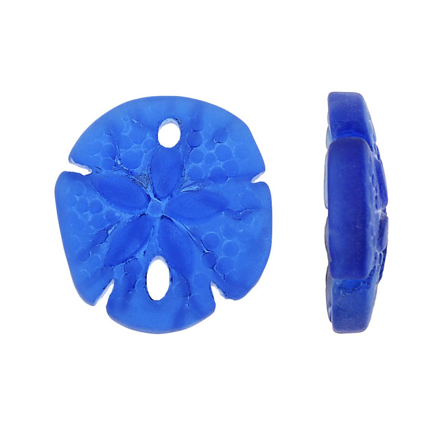 Cultured Sea Glass, Sand Dollar Pendants 21x19mm, 2 Pieces, Royal Blue