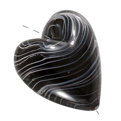 Murano Style Glass Lampwork Large Heart Pendant Bead Black & White 30mm (1)