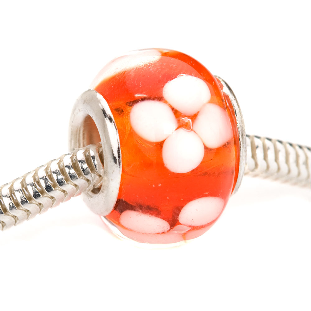 Murano Style Glass Lampwork European Style Large Hole Bead - Orange With White Flower 14mm (1)