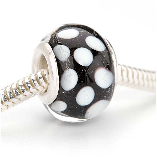 Murano Style Glass Lampwork European Style Large Hole Bead - Black With White Dots 14mm (1)