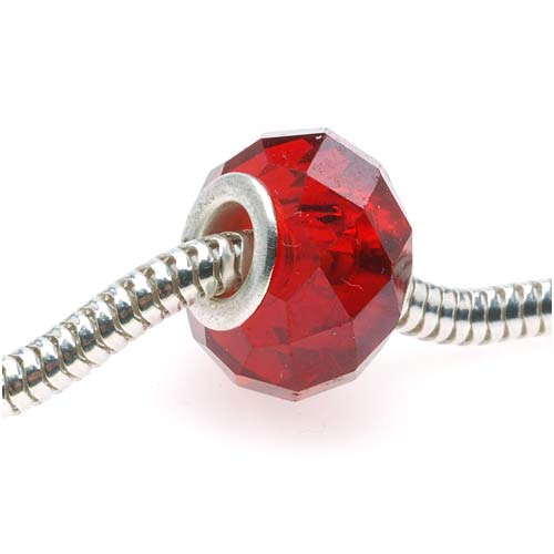 Faceted Glass European Style Large Hole Bead - Siam Ruby Red 14mm (1)
